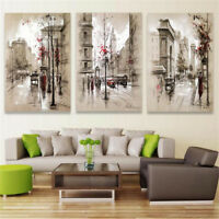 3pcs Modern City Canvas Print Painting Wall Hanging Art Pictures Framed