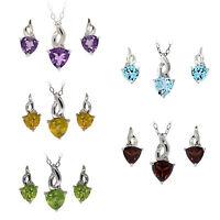 Trillion Cut Amethyst Citrine Garnet Peridot Topaz Diamond Earring Pendant Set S
