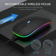 More details for  wireless led light mouse cordless optical mice for pc laptop rechargeable + usb