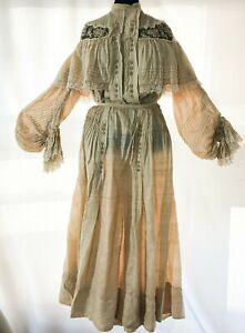 Antique Victorian  raw silk dress: top and skirt, S.