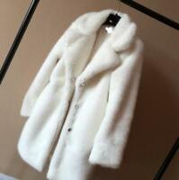 New Womens  Thicken Mink Fur Coat Mink Fur Lapel Winter Warm Jacket Overcoat Hot