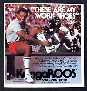 1984 Football Legend Walter Payton photo KangaROOS Work Shoes vintage print ad