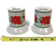 Amscan Poinsettia Candlestick Holders Ceramic Christmas Plant Winter Holiday Set