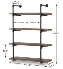 Homissue 4-Shelf Rustic Pipe Shelving Unit, 31.5-Inch Wide Wall Organizer