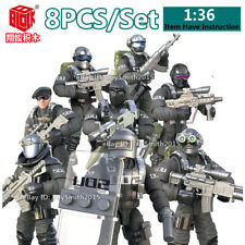 8X Military Special SWAT Police Building Bricks Mini Soliders Figures Shield Toy