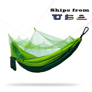 Double Outdoor Parachute Nylon Hammock with Mosquito Net - Large