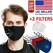 Reusable Washable Cloth Face Mask w/ Air Port + 2 PM2.5 Carbon Filters USA stock