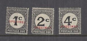 BRITISH HONDURAS, POSTAGE DUE, 1923 SPECIMEN set of 3, lhm.