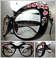 VINTAGE RETRO Style Clear Lens EYE GLASSES Large Black Frame Silver Pink Floral