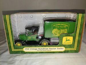 '98 Ertl 1918 John Deere Ford Vintage Runabout Tractor Trailer Diecast 1/25 JD18