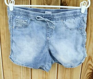 Justice Shorts Girls 18R Light Blue Cotton Elastic Waist Drawstring Lightweight