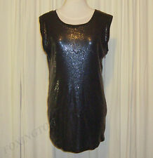 BEAUTIFUL SASS&BIDE DARK BLUE SEQUINNED RELAXED FIT MINI DRESS 38/2 AUS 8/10