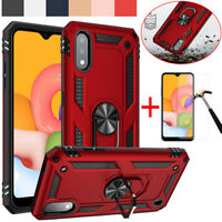 For Samsung Galaxy A01 Shockproof Armor Kickstand Hard Case Cover+Tempered Glass