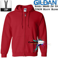 Gildan Red Zip Up Hoodie Heavy Blend Basic Hooded Sweatshirt Sweater Sweat