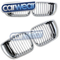 BMW E46 4D SEDAN 01-05 LCI 3-SERIES MATT CHROME WIDE KIDNEY GRILLE