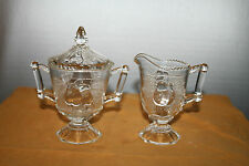 Jeannette Glass Clear Creamer and Covered Sugar Bowl Baltimore Pear