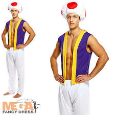 Mushroom Mens Fancy Dress Toad Toadstool 80s Mario Video Game Adults Costume New