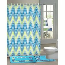 Designer 15-Piece Bathroom Accessory Set 2 Bath Mats Shower Curtain & 12 Rings