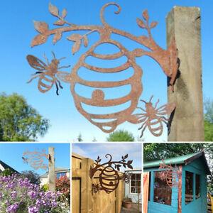 Rusty Metal Bee Hive Garden Decorative Wall Hanging Art Ornament New