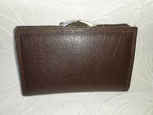 Vintage Brown Leather Clip Top Purse Wallet