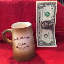 "Antique Morris Willmore Pottery Co. ""Burnham's Clam Bouillon"" 3 1/2 In. Tall Mug"