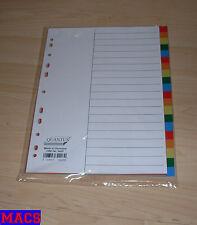Register Quantus farbig 20-teilig mit Register DIN A4 Trennblätter Büro Neu