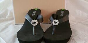 Michael Kors MK Black Wedge Platform Slip On Sandals Jelly Flip Flop MKLogo Sz 6