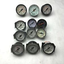 """Lot of 12 Miscellaneous Pressure Gauges, 9x 1/8"""" NPT, 3x 1/4"""" NPT, 0-60 PSI"""