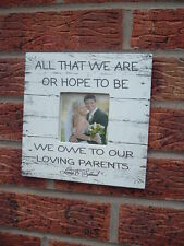 shabby vintage chic all that we are wedding parents photo frame personalised