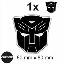 AUTOBOT Transformers 3d Chrome Black Sticker Car Domed Resin Badge Emblem Decal