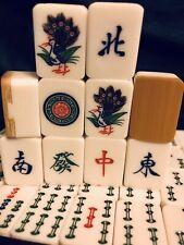 Vintage Mid-Century Japanese Mahjong Set Bamboo & Casein136 Tiles 5Lbs C-1950