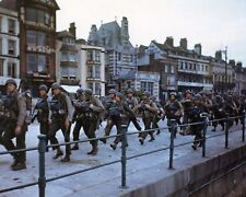 American troops march through a British port town to the docks New 8x10 Photo