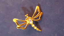 Vintage AVON Dragonfly Gold Brooch Rhinestone Bug Insect Push Pin 3b 55