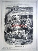"""1914 WW1 Private Atkins Wartime Trench Punch Cartoon Print - """"Sinews of War"""""""