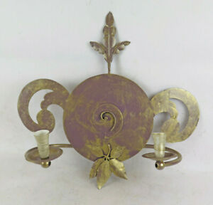 Wall Light Two Flames Wrought Iron Vintage Artisan Lamp CH39