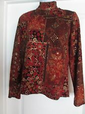 Coldwater Creek Top M Turtlenneck Knit Red Gold Metallic Paisley SZ M-b1