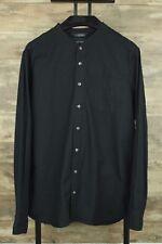Wings + Horns Cotton Linen Band-Collar Black Button Down Trim Fit Shirt Sz Lg