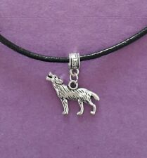 Black Leather Choker Necklace with Silver Tone Wolf Charm - New - UK Seller
