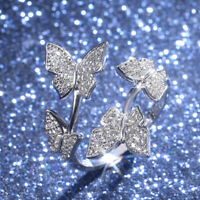Butterfly 925 Silver,Rose Gold,Gold Women's Rings White Sapphire Size Adjustable