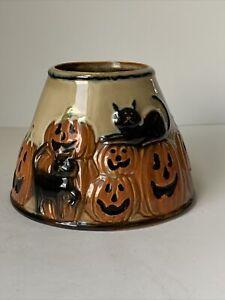 Retired Yankee Candle Halloween Jar Shade Topper Pumpkins Black Cats Rare