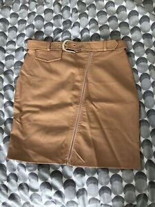 Missguided Faux Leather Skirt In Nude With Belt And Zip Feature Size 8