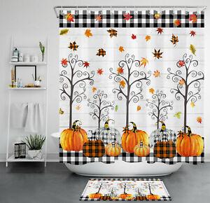 "Fall Maple Leaf Tree Buffalo Plaid Pumpkin Shower Curtain Set Bathroom Decor 72"""