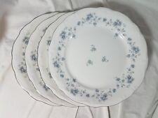 """4 Johann Haviland Blue Garland Bavaria Germany Platinum 10"""" Dinner Plates"""