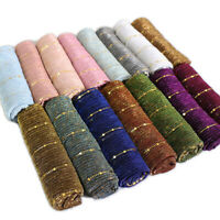 Women's Glitter Gold Wire Shawl Scarf Islamic Muslim Hijab Head Wraps Scarves