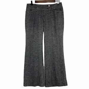 WHBM White House Black Market Legacy Flare Leg 6S Wool Silk Career Tweed Gray