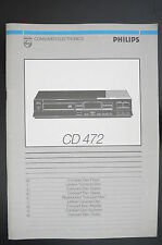 PHILIPS cd-472 ORIGINALE LETTORE CD istruzioni d'USO / istruzioni d'uso