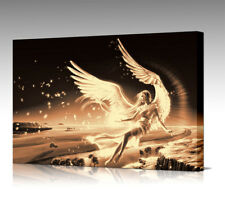 Large Fantasy Angel In Flight Wings Sepia Gold Colour CANVAS Art Picture Print