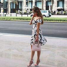Zara blanc cassé noir imprimé Off épaule Robe Taille S