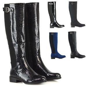 Womens Knee High Boots Flat Low Heel Ladies Stretch Calf Leg Buckle Zip Riding