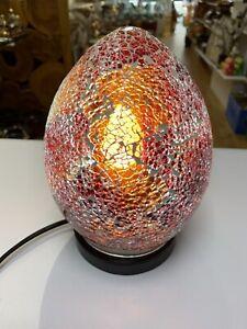 Brand New LAMP GINGER RED Mosaic Glass Mini Egg Table Light 21 cm Home Decor